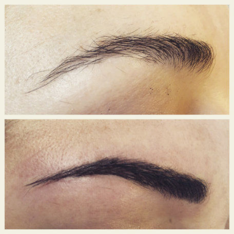 Microblading Eyebrow Shaping before and after